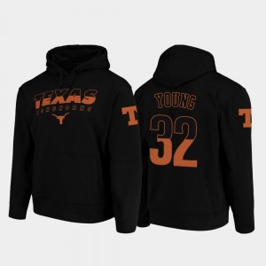 College Football Pullover #32 Daniel Young University of Texas Hoodie Black Wedge Performance Men's
