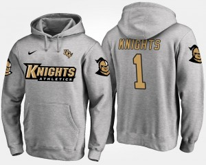 Name and Number Gray #1 Men UCF Knights Hoodie No.1