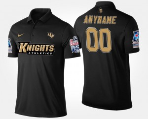 Bowl Game UCF Customized Polo Navy #00 Mens American Athletic Conference Peach Bowl Name and Number