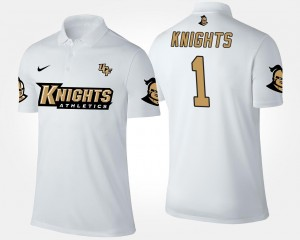 Name and Number UCF Polo For Men White #1 No.1 Short Sleeve