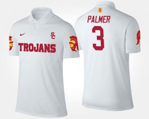 White Carson Palmer Trojans Polo Mens Name and Number #3