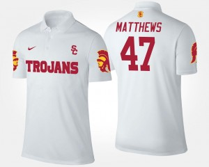 For Men White #47 Name and Number Clay Matthews USC Trojans Polo