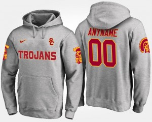 Men Name and Number #00 Trojans Customized Hoodie Gray