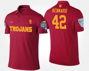 Mens #42 Bowl Game Cardinal Devon Kennard Trojans Polo Pac 12 Conference Cotton Bowl Name and Number
