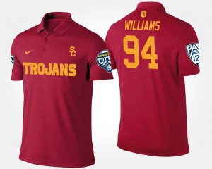 Pac 12 Conference Cotton Bowl Name and Number Leonard Williams Trojans Polo Bowl Game For Men Cardinal #94