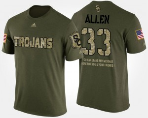 Military #33 Short Sleeve With Message For Men Camo Marcus Allen Trojans T-Shirt