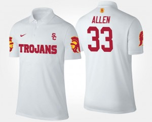 For Men Marcus Allen Trojans Polo #33 Name and Number White