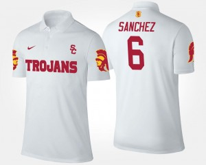 Mark Sanchez USC Polo #6 White For Men's Name and Number