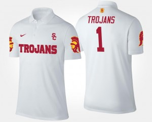#1 White Men's No.1 Short Sleeve Name and Number USC Trojans Polo