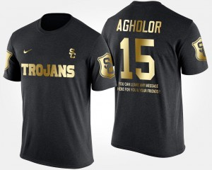Gold Limited Black Nelson Agholor USC T-Shirt Short Sleeve With Message #15 For Men
