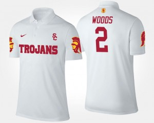 Name and Number Men White #2 Robert Woods Trojans Polo