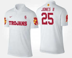 White #25 For Men's Name and Number Ronald Jones II USC Polo