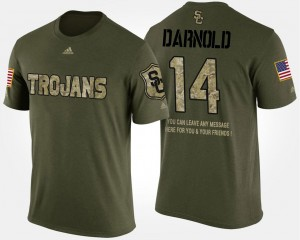 Military #14 Sam Darnold USC Trojans T-Shirt For Men's Camo Short Sleeve With Message