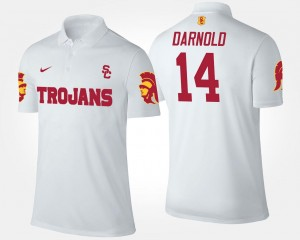 For Men's #14 Sam Darnold Trojans Polo Name and Number White