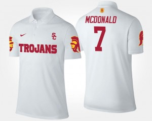 T.J. McDonald Trojans Polo White Mens #7 Name and Number