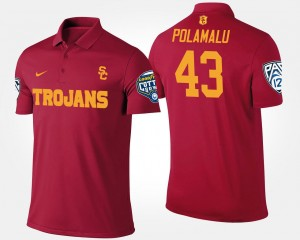 #43 Men Bowl Game Troy Polamalu USC Polo Cardinal Pac 12 Conference Cotton Bowl Name and Number