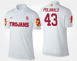 #43 Name and Number Troy Polamalu Trojans Polo For Men White