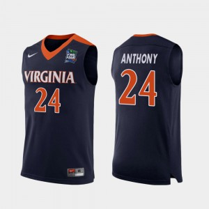 Navy 2019 Final-Four Mens #24 Marco Anthony University of Virginia Jersey Replica