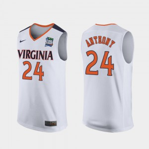 White 2019 Final-Four #24 Marco Anthony Virginia Cavaliers Jersey Replica Mens