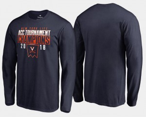 UVA Cavaliers T-Shirt Basketball Conference Tournament Navy 2018 ACC Champions Long Sleeve Mens