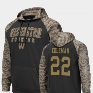 Charcoal #22 Colosseum Football Lavon Coleman University of Washington Hoodie For Men's United We Stand