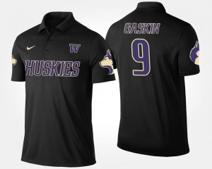 #9 Black Name and Number Myles Gaskin Washington Polo For Men's