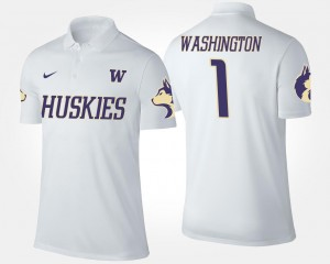 White No.1 Short Sleeve UW Polo Name and Number #1 Mens