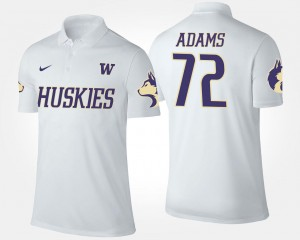 #72 Trey Adams UW Huskies Polo Name and Number For Men's White