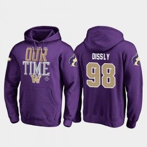 Mens Will Dissly UW Hoodie Fanatics Branded Counter #98 Purple 2019 Rose Bowl Bound
