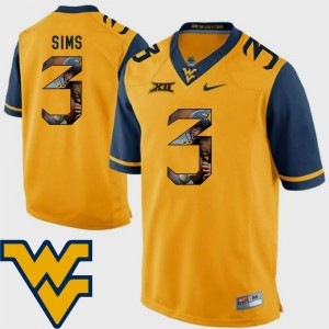 Pictorial Fashion Gold Football #3 Charles Sims West Virginia Mountaineers Jersey Men's