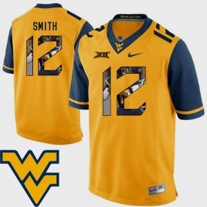 Football Pictorial Fashion Gold For Men's #12 Geno Smith WVU Jersey