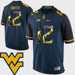 #12 Geno Smith WVU Jersey Football Navy For Men's Pictorial Fashion