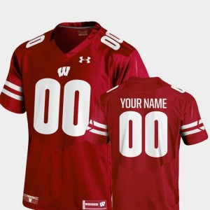 For Men's College Football 2018 TC Under Armour Red Wisconsin Badgers Customized Jerseys #00