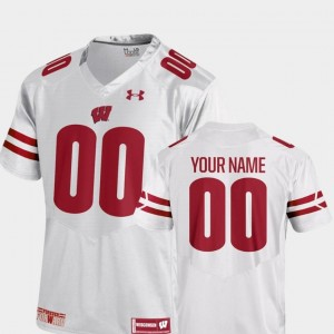 2018 Replica Under Armour #00 University of Wisconsin Custom Jersey College Football For Men White