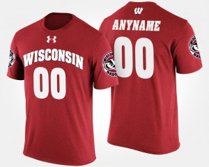 Mens #00 Name and Number Red Wisconsin Custom T-Shirt T shirt