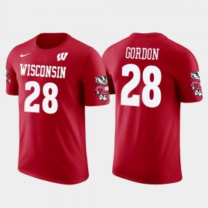 Red For Men's Los Angeles Chargers Football Future Stars Melvin Gordon Wisconsin Badgers T-Shirt #28