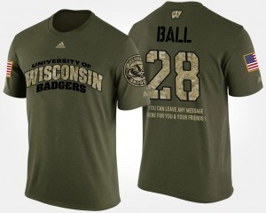 #28 Montee Ball UW T-Shirt Military Mens Short Sleeve With Message Camo