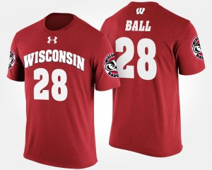 Red For Men #28 Name and Number Montee Ball Wisconsin Badgers T-Shirt