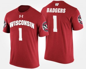 #1 Red Mens No.1 Short Sleeve Name and Number University of Wisconsin T-Shirt
