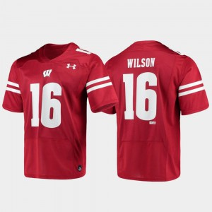 Alumni Football Under Armour #16 Mens Replica Russell Wilson Wisconsin Badgers Jersey Red