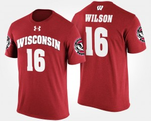 Red For Men Russell Wilson Wisconsin T-Shirt Name and Number #16