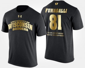 Gold Limited Black Troy Fumagalli Wisconsin Badgers T-Shirt #81 Short Sleeve With Message Men