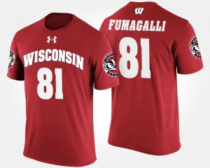 Red #81 For Men Troy Fumagalli Wisconsin T-Shirt Name and Number