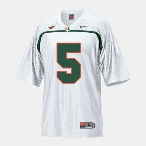 For Kids College Football #5 White Andre Johnson University of Miami Jersey