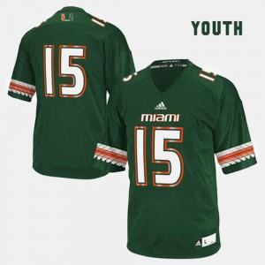University of Miami Jersey Green #15 Youth College Football