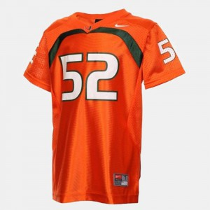 Youth College Football Ray Lewis Miami Jersey Orange #52