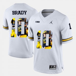 #10 White Player Pictorial Men's Tom Brady Wolverines Jersey