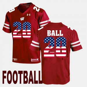 Mens US Flag Fashion Maroon Montee Ball Wisconsin Badgers Jersey #28