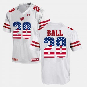 White #28 Montee Ball Wisconsin Jersey For Men's US Flag Fashion