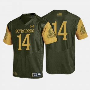 College Football Olive Green #14 Fighting Irish Jersey For Men